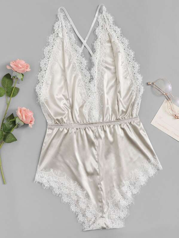 Criss Cross Lace Trim Satin Backless Romper Bodysuit