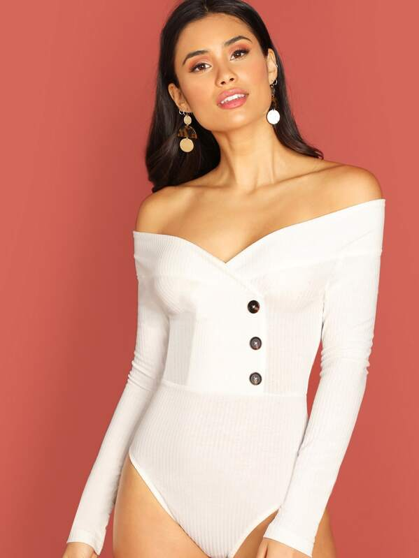 Off Shoulder Button Ribbed Knit Bodysuit, Izzy Marshall