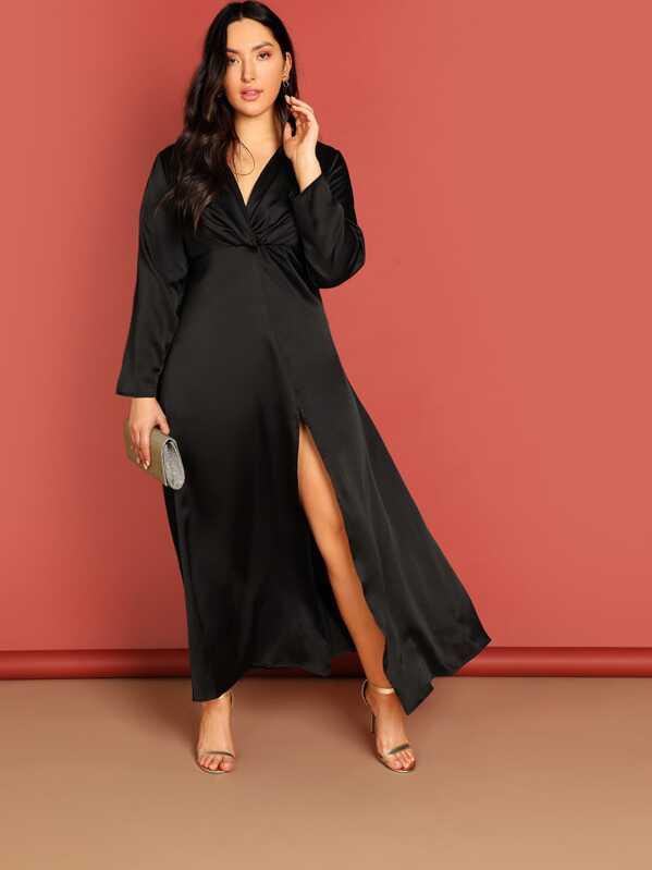 Plus Zip Back Deep V-Neck Split Dress