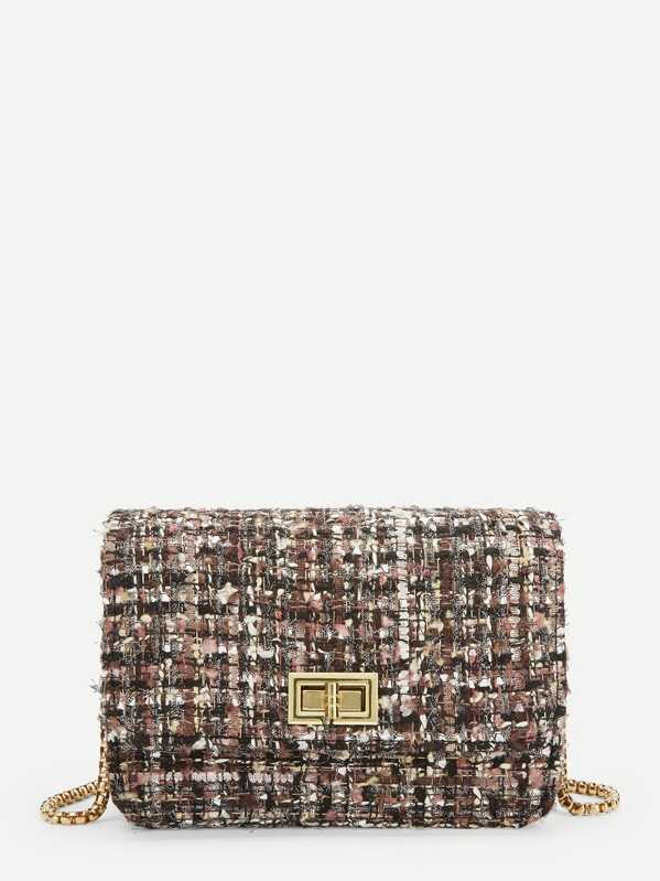 Multicolor Tweed Box Bag With Chain Strap, null