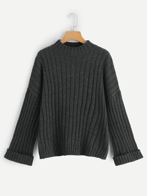 Plus Rolled Cuff Ribbed Knit Jumper
