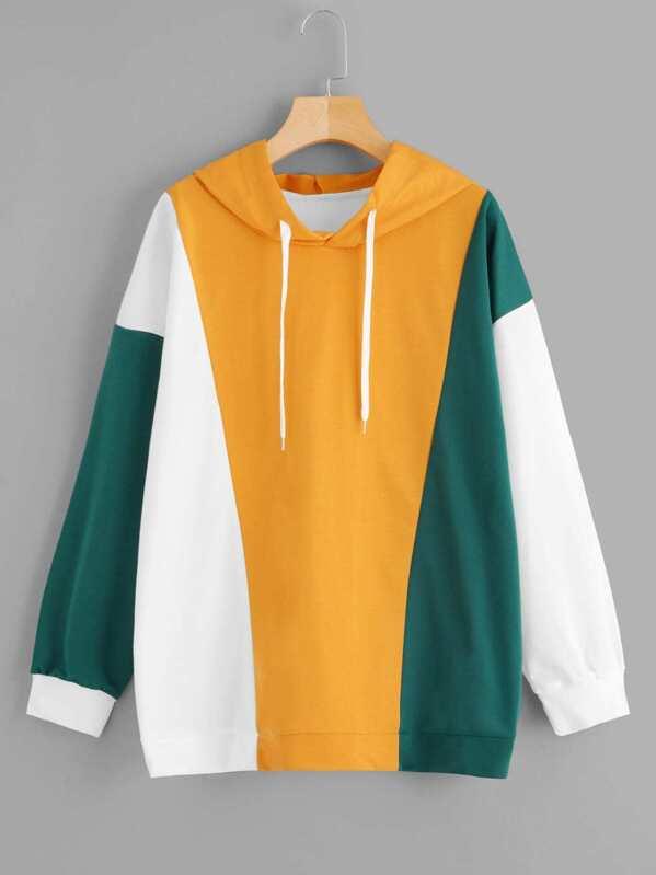 Plus Color Block Drawstring Hooded Sweatshirt, null