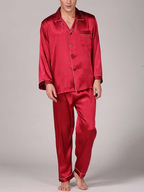 Men Contrast Binding Satin Pajama Set
