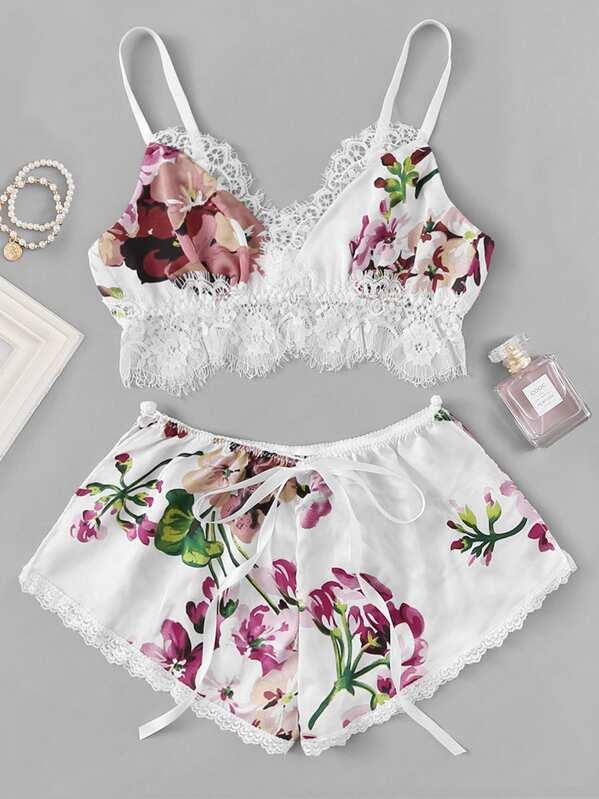 Contrast Lace Floral Lingerie Set, null