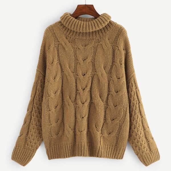 Plus Mixed Knit Drop Shoulder Jumper, Khaki