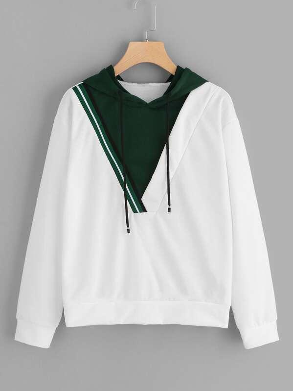 Color-block Tape Detail Hooded Sweatshirt, null