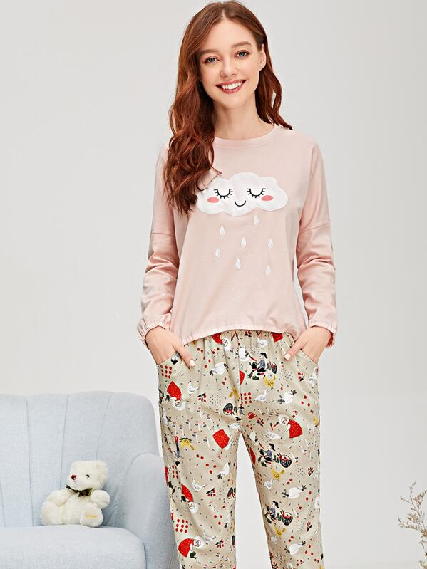 Cartoon Print Cloud Embroidered Pajama Set