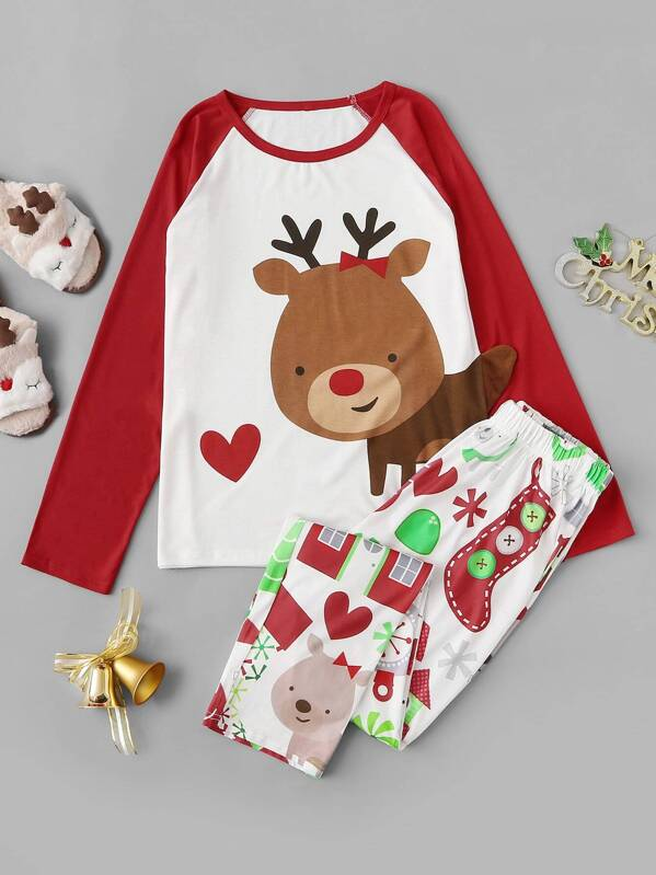Christmas Deer Print Pajama Set, null