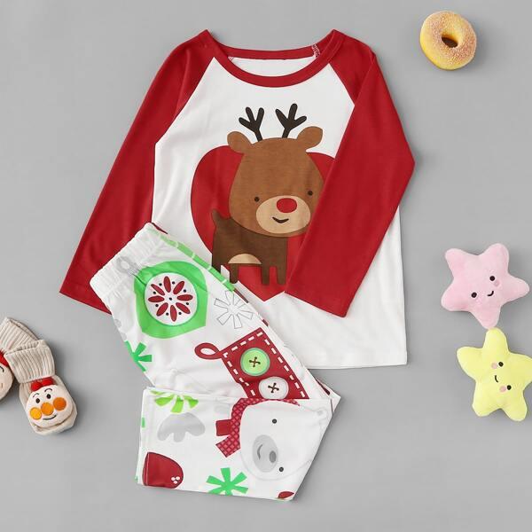 Christmas Kids Deer Print Pajama Set