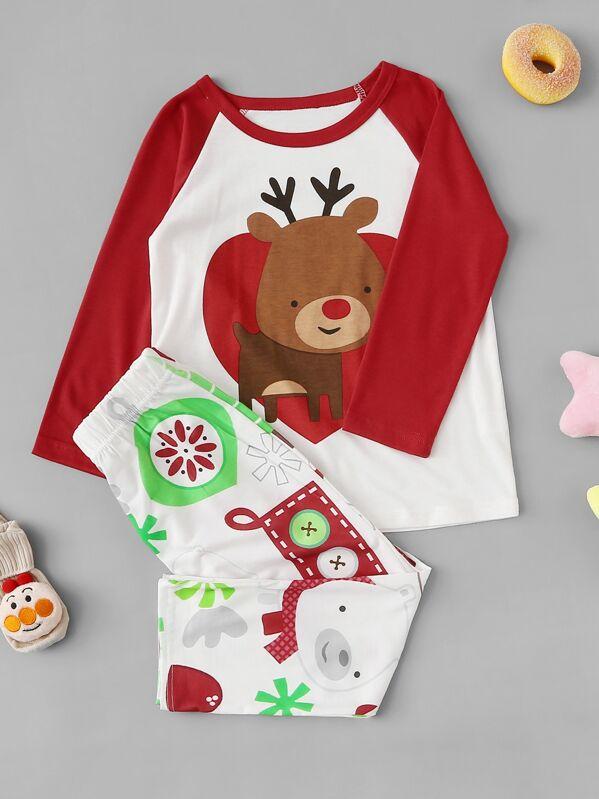 Christmas Kids Deer Print Pajama Set, null
