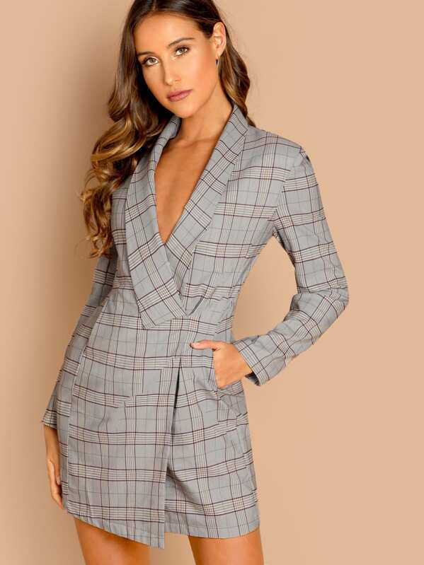 Shawl Collar Plaid Wrap Blazer Dress, Anna Herrin