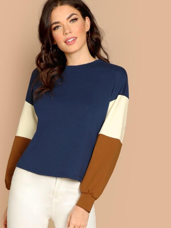Color-Block Sleeve Sweatshirt, Aarika Wolf
