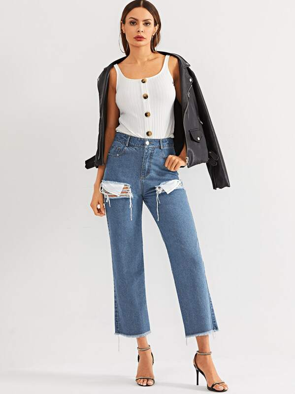 Ripped Detail Raw Hem Wide Leg Jeans, Andy