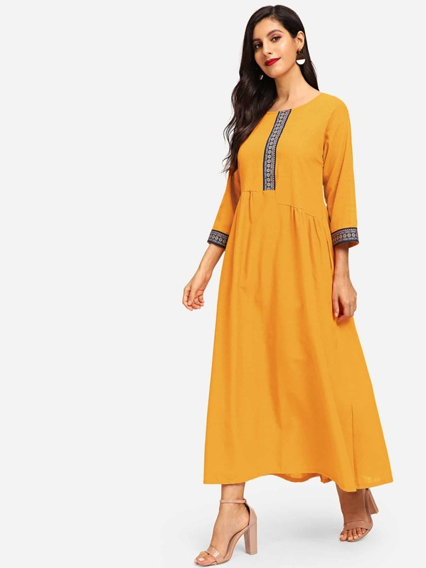 Contrast Tape Longline Dress, Yellow