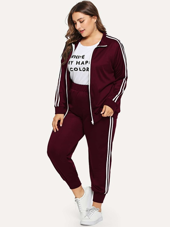 Plus Contrast Striped Zip Up Sweatshirt With Pants, Franziska
