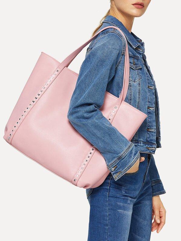 Studded Detail PU Tote Bag