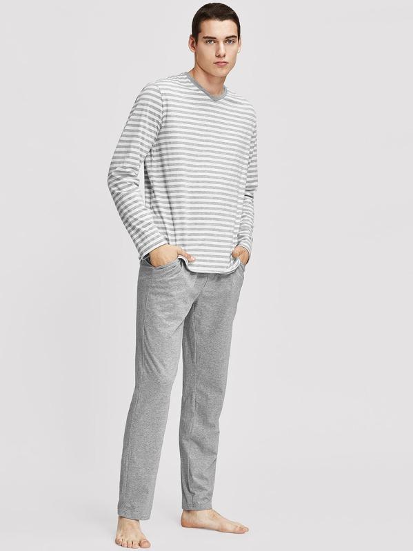 Men Striped Long Sleeve Top & Pants Pajama Set
