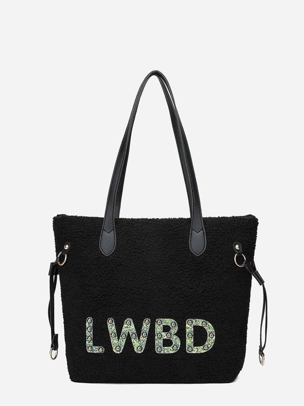 Studded Detail Fuzzy Tote Bag