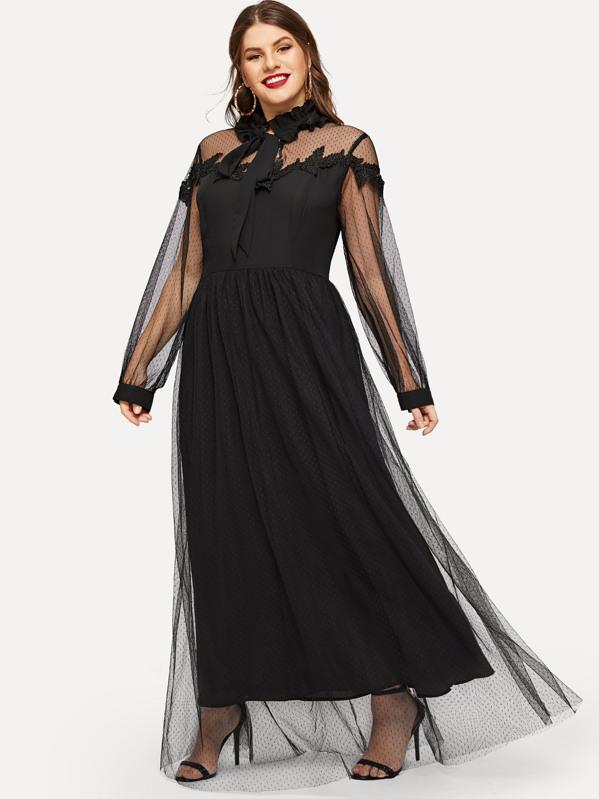 Plus Tie Neck Lace Trim Mesh Overlay Dress, Isabela