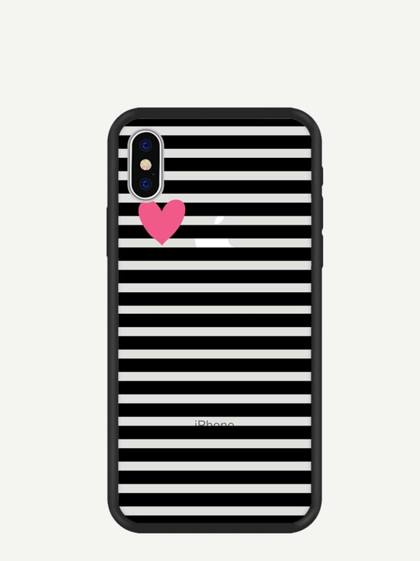 Heart & Striped Pattern iPhone Case, null