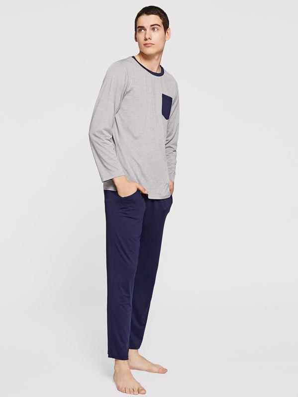 Men Pocket Front Contrast Side Pajama Set