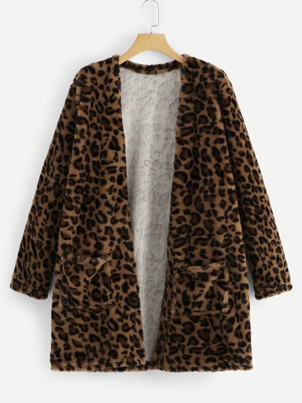 Cheetah Print Open Front Teddy Coat, null