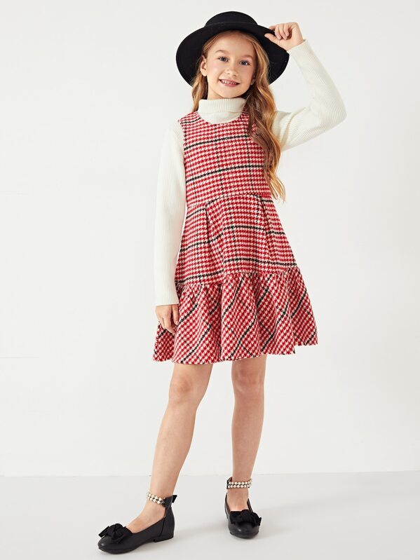Girls Zip Back Ruffle Hem Pleated Plaid Dress, Masha. P