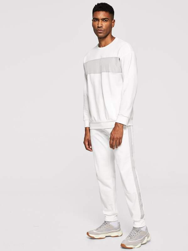 Men Contrast Panel Pullover & Sweatpants Set, Johnn Silva