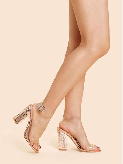 Shein Chaussures À Talons Hauts À Bride De Cheville Design Transparent