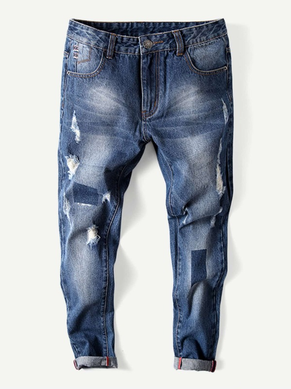 Men Rolled Hem Old Destroyed Jeans, null