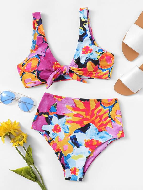 Random Floral Top With High Waist Bikini Set
