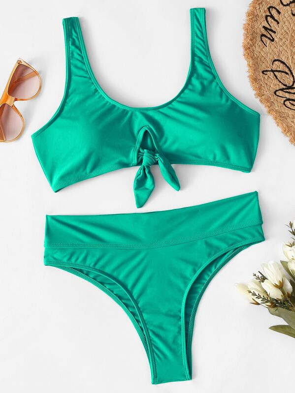 Knot Front Top With High Waist Bikini Set, null