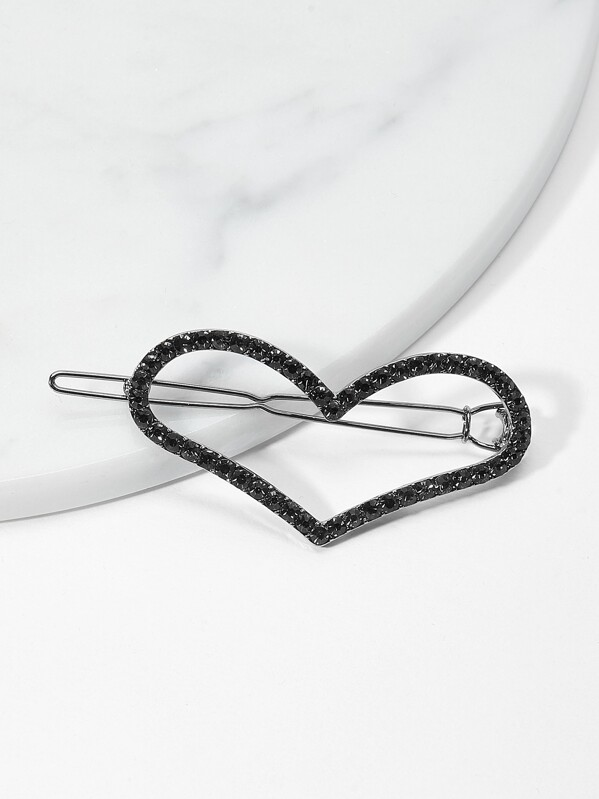 Heart Design Rhinestone Hair Clip, null