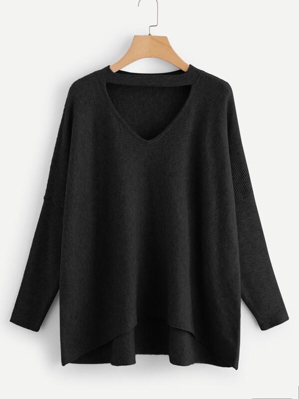 Мягкий вязяный свитер с колье на шею, null