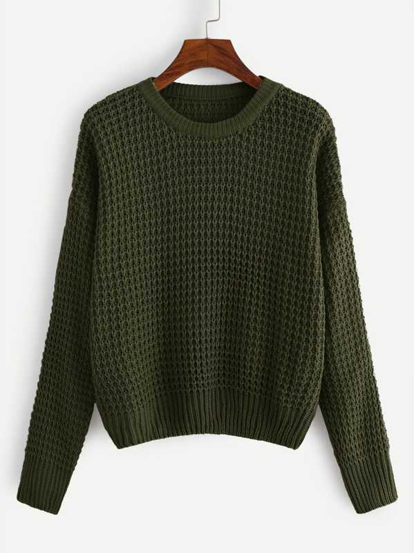 Plus Solid Ribbed Knit Trim Sweater