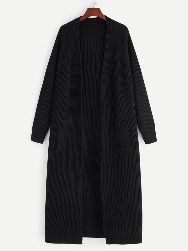 Plus Open Front Solid Longline Cardigan