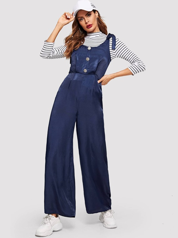 Self Tie Shoulder Button Front Palazzo Jumpsuit, Andy