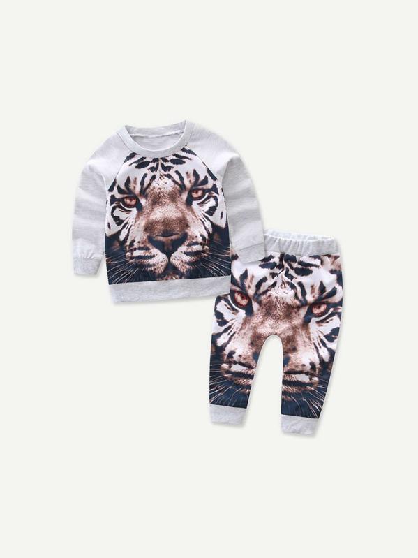 Toddler Boys Raglan Sleeve Tiger Print Sweatshirt With Pants, null