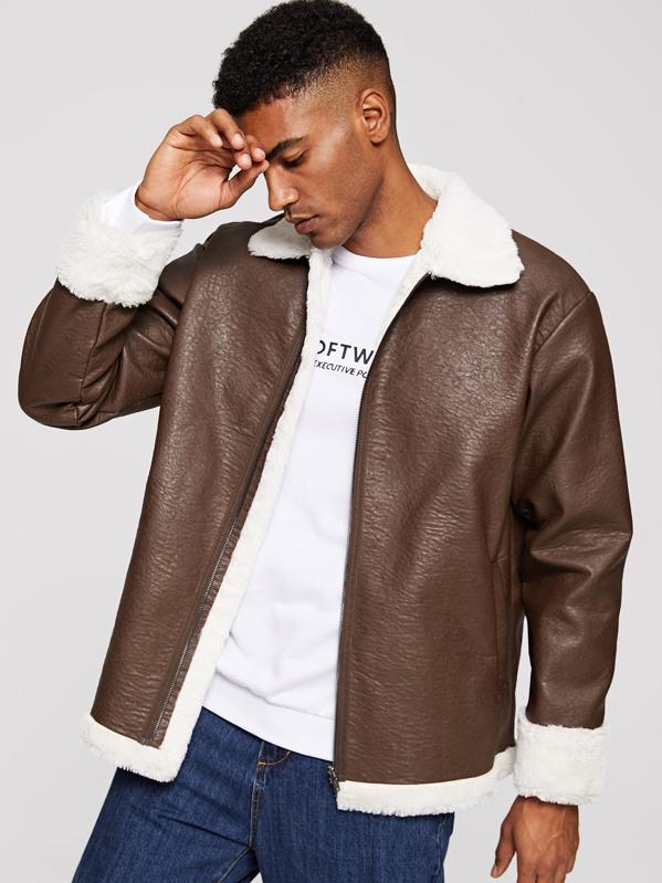 Men Contrast Faux Shearling Zip Up PU Jacket, Johnn Silva
