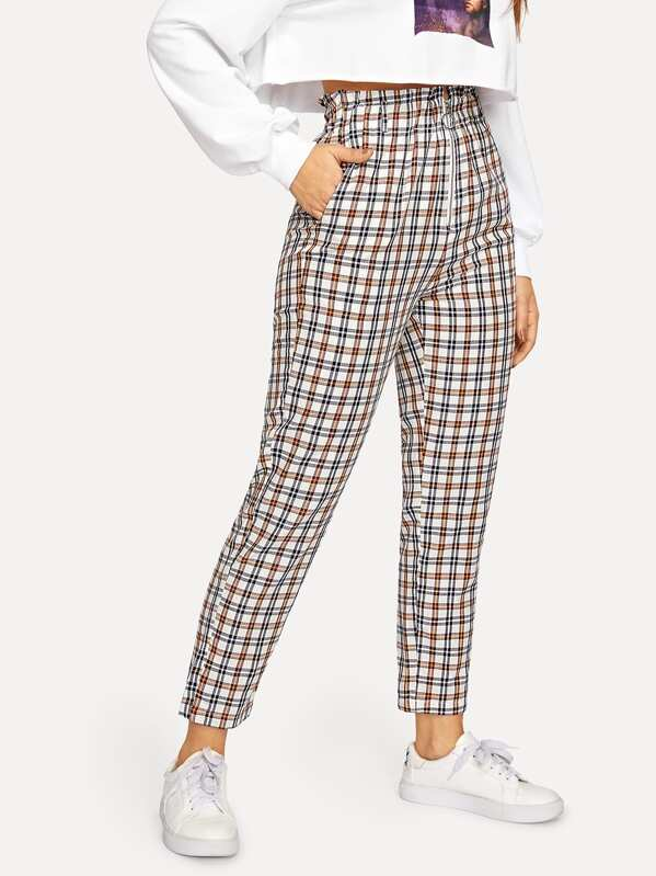 Exposed Zip Fly Plaid Peg Pants, DANI A