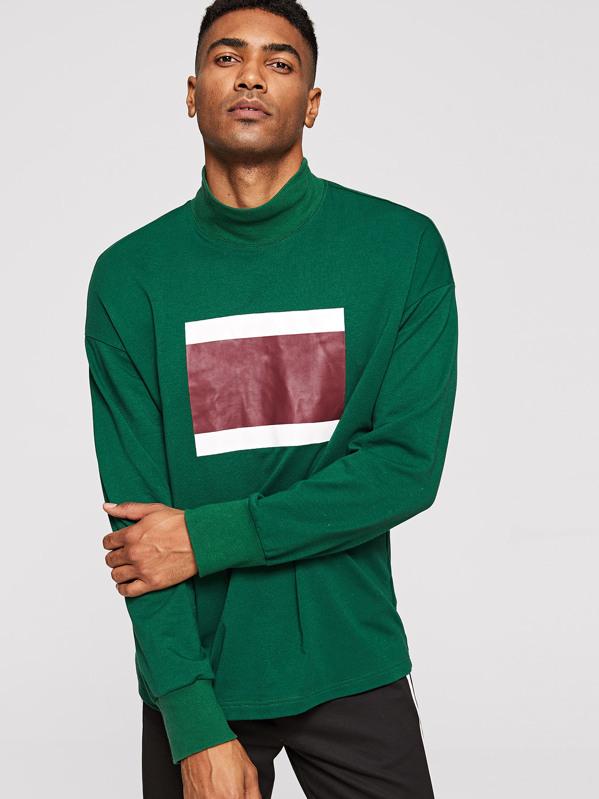 Men Stand Collar Colorblock Pullover, Johnn Silva
