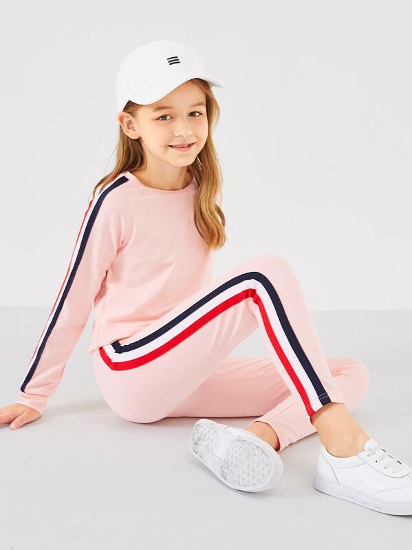 Girls Contrast Sideseam Pullover & Pants Set, Sashab