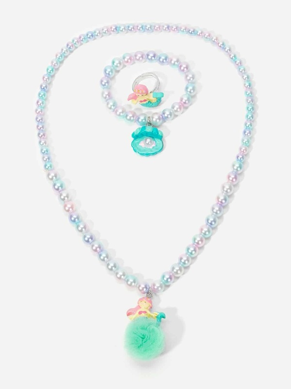 Girls Faux Pearl Beaded Jewelry Set 3pcs, null