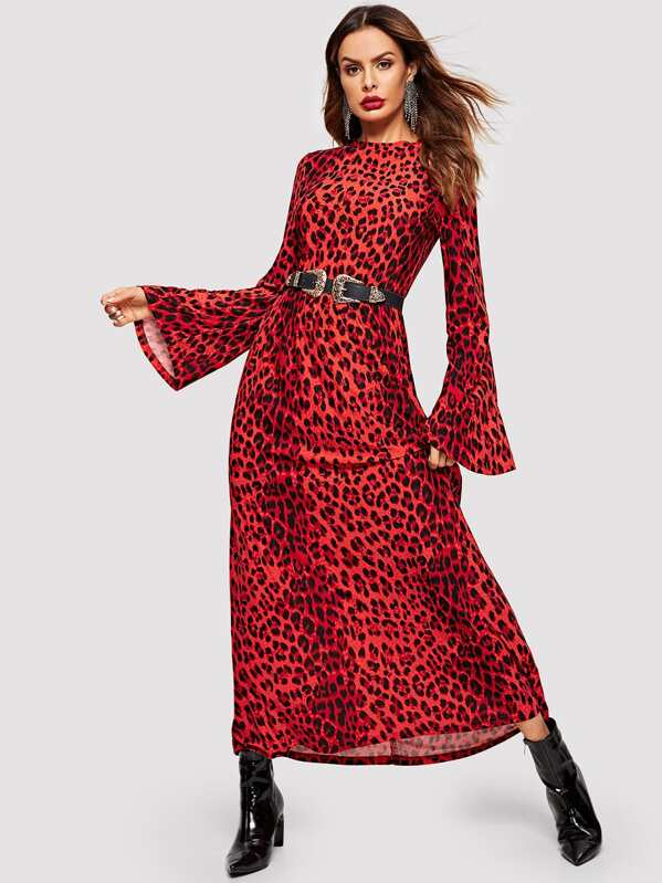 Mock-neck Leopard Print Bell Sleeve Dress Without Belt, Andy
