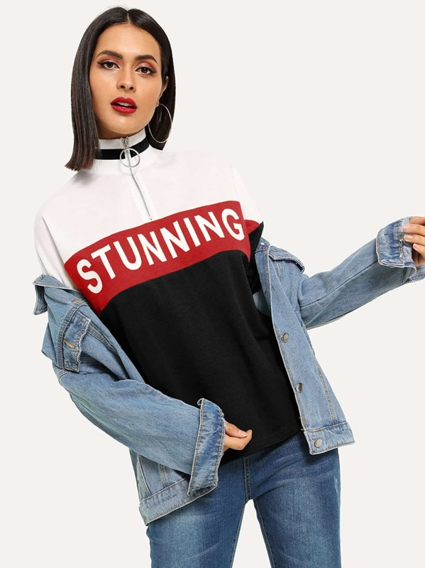O-Ring Half Placket Colorblock Letter Tee