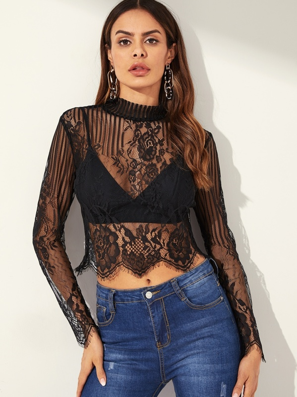 Mock-neck Sheer Lace Scallop Trim Crop Top, Andy