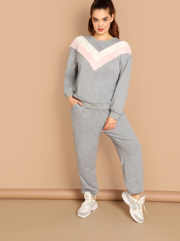 Plus Colorblock Pullover and Contrast Sideseam Sweatpants Set, Faith Bowman