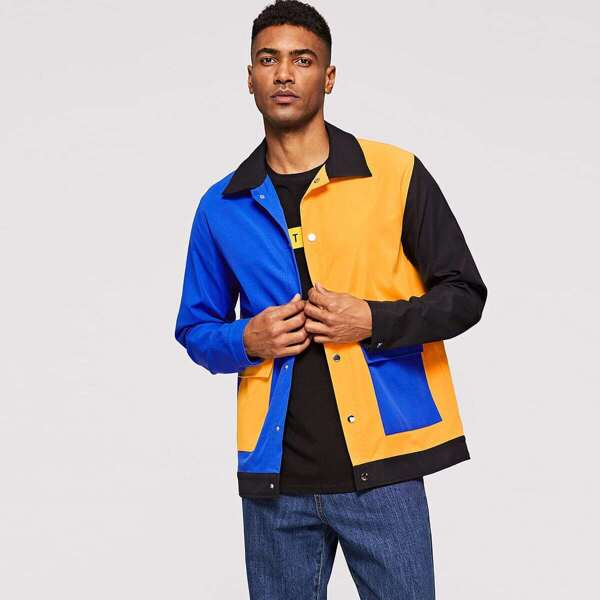 Men Flap Pocket Front Cut-and-sew Jacket