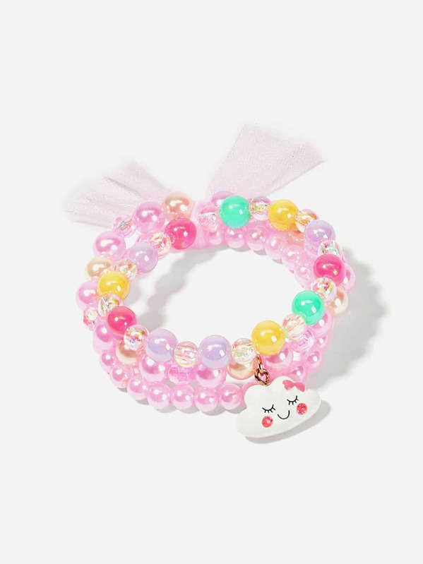 Girls Bow Decorated Beaded Bracelet 1pc, null