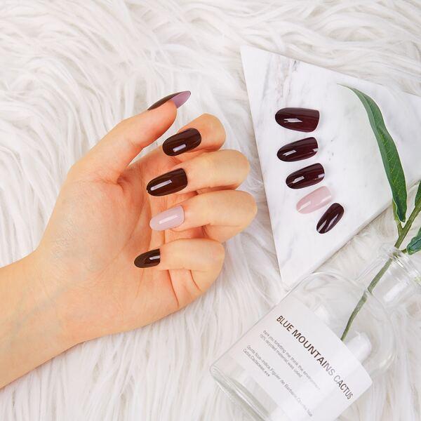 Jelly Round Fake Nails 24pcs